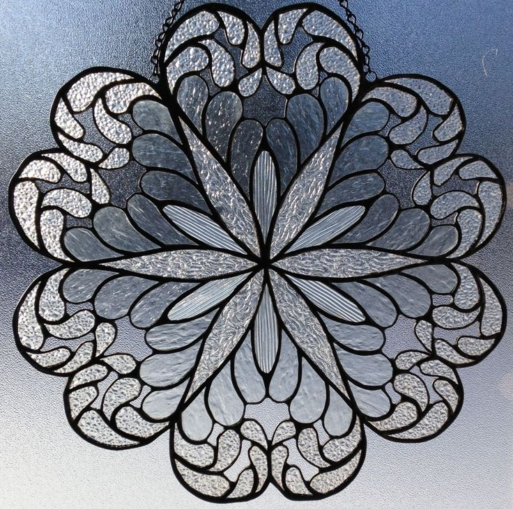Stained Glass Window Panel Suncatcher Textured Clear Crystal Doily Cut Lace | eBay