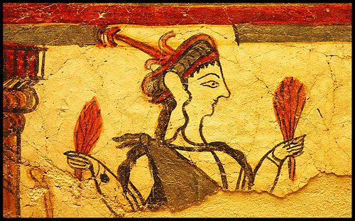 Fresco de mujer en procesión- MICENAS