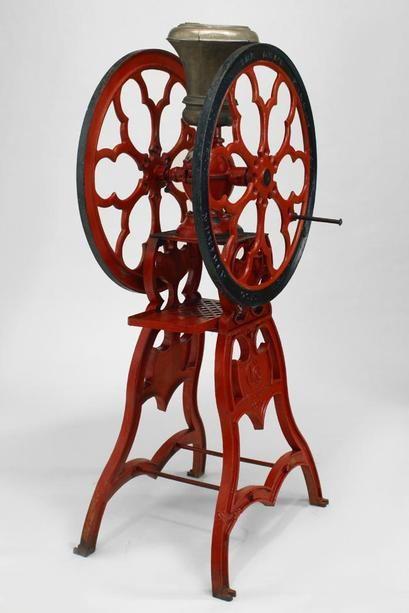 American Victorian clock/mechanical coffee grinder painted