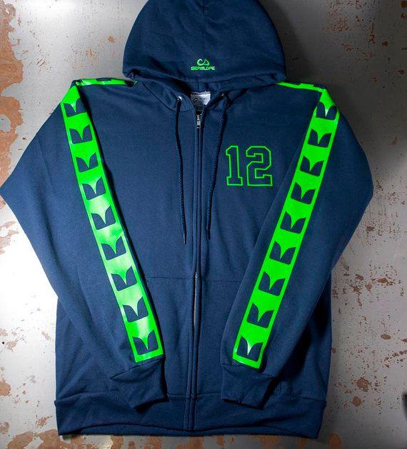 Seattle Seahawk Sweatshirt Hooded Zip Up-  NAVY Clothing Similar to Seahawks Jerseys