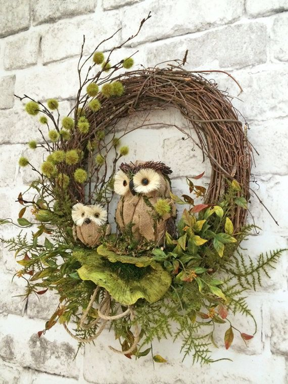 Fall Owl Wreath, Fall Wreath for Door, Fall Door Wreath, Front Door Wreath, Grapevine Wreath, Silk Flower Wreath, Outdoor Wreath, Autumn Wreath, Etsy -    This gorgeous owl wreath was handmade using a grapevine wreath base adorned with two adorable moss, burlap and twig owls, green dried sponge mushrooms, lots of gorgeous mossy greenery, and a natural rope bow. This wreath has a very natural, organic look and feel to it that you will absolutely love! This wreath would look amazing displayed…