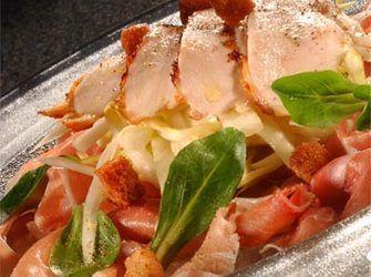Recepten - Salade van kipfilet met witloof, appeltjes en gedroogde ham