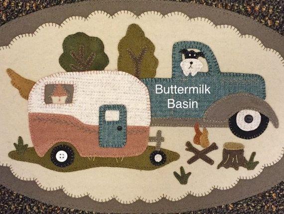 "Vintage Wool Applique PATTERN ""Vintage Truck Thru the Year -JUNE"""