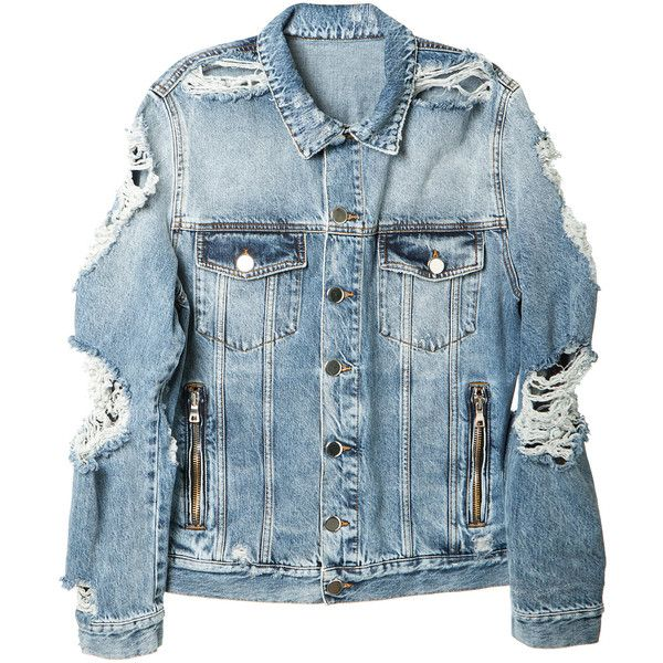 Balmain Destroyed Jean Jacket ($805) ❤ liked on Polyvore featuring men's fashion, men's clothing, men's outerwear, men's jackets, mens zip jacket, mens distressed denim jacket, balmain mens jacket, mens zipper jacket and mens cotton jacket