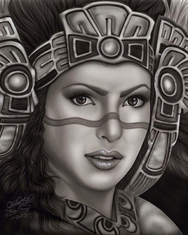Aztec Princess by Big Ceeze Mexican Woman w Headdress Canvas Art Print – moodswingsonthenet