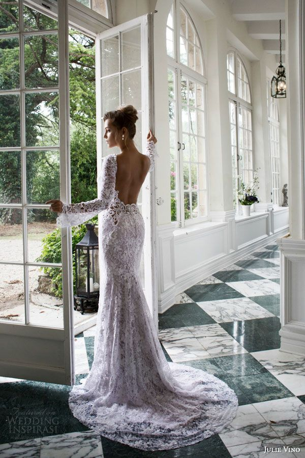 julie vino bridal fall winter 2015 provence alexis lace sheath wedding dress long bell sleeves scalloped v neckline open back view