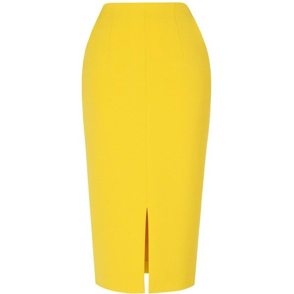 L.K. Bennett Codie Buttercup Pencil Skirt ($215) ❤ liked on Polyvore featuring skirts, bottoms, yellow cami, high rise pencil skirt, high-waisted pencil skirts, zipper pencil skirt and high waisted pencil skirt