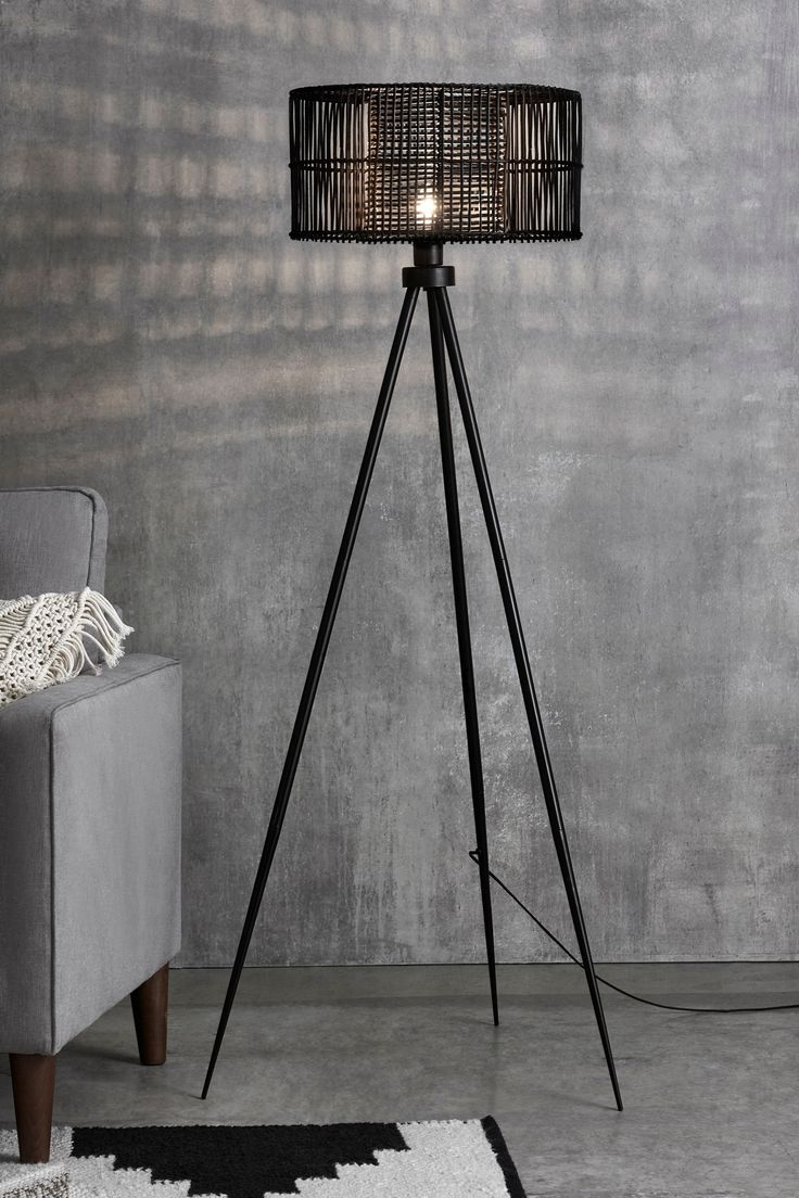 Next Kai Rattan Tripod Floor Lamp Black in 2020 Tripod
