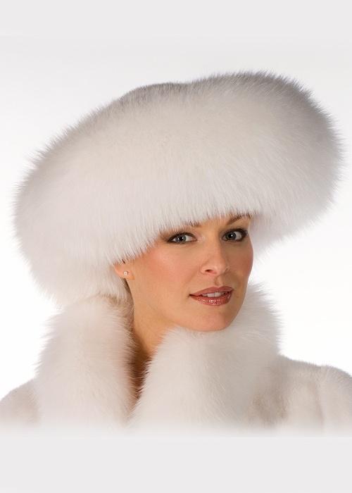 Rosamaria G Frangini | High Fur&Coats | LuxeBeALady | White Fox and Mink Fur Hat-Large Brim Fur Hat |