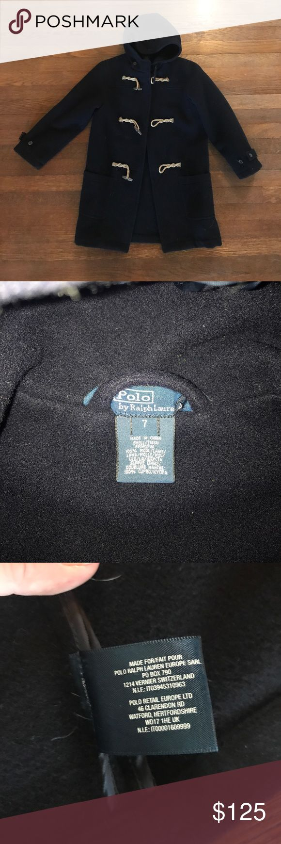 Polo Ralph Lauren boys blue wool toggle coat 7 In great condition worn a handful of times. Similar coats On their website right now retail 250. Perfect for the holidays. Dark navy blue and unlined. Last  photo is stock to give an idea of the overall look but is not the actual coat- rest of photos are actual coat. Size boys 7. Polo by Ralph Lauren Jackets & Coats Pea Coats