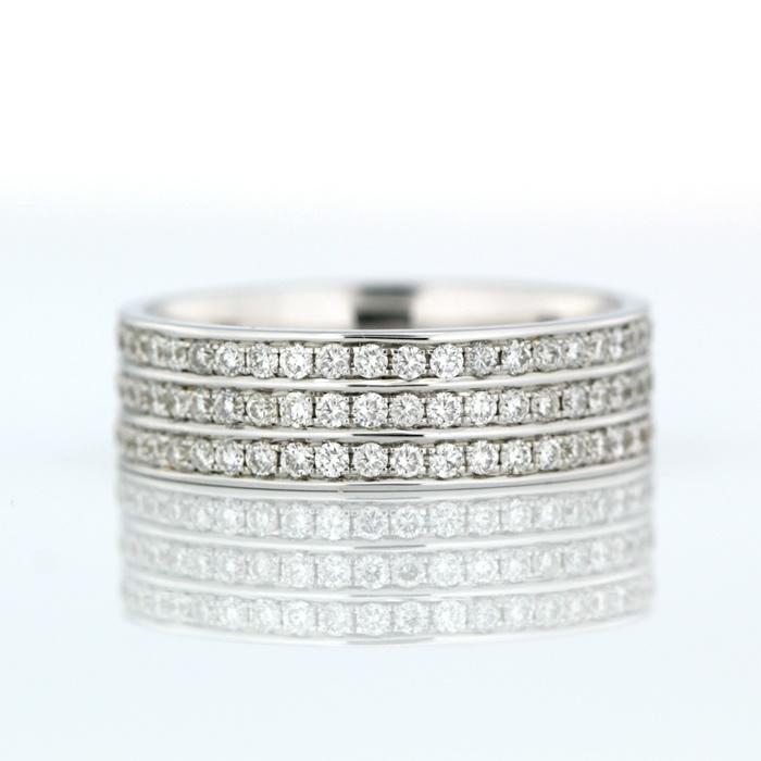 Triple Row Bead Set Wedding Ring 18ct White Gold Triple Row Bead Set Wedding Ring Product Reference 0600371 #diamondsinternational #ring #bling #love #diamond #engaged #weddingring