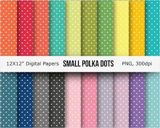 Free 20 small polka dots digital papers   Make these beautiful small polka dots digital papers you...