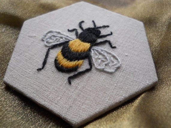 Bee crewelwork embroidery kit via etsy