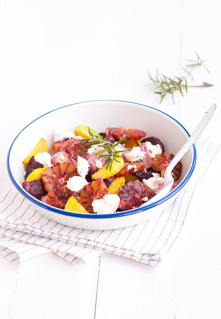 Lekker recept voor geroosterde bietjes uit de oven met sinaasappel en geitenkaas.
