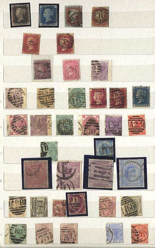 Inghilterra - classificatore con collezione di francobolli usati dall'inizio (penny nero   blu) agli anni '70. Qualità mista, da esaminare.