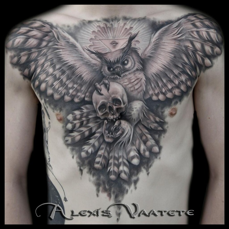 Great Horned Owl Black And Grey Tattoo Black & grey ch...