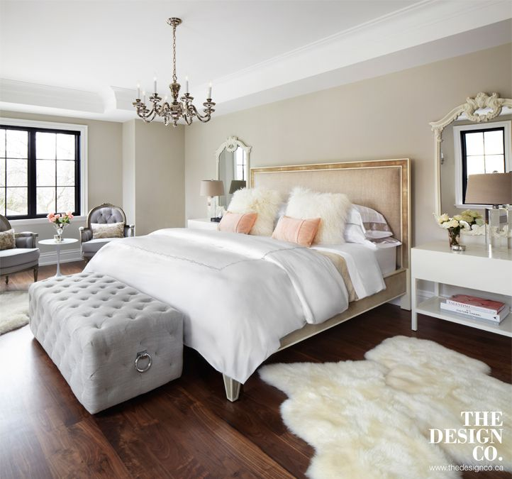 Master Bedroom Parisian Chic Sheepskin Rugs Tufted Bench White Bedding Peach And Gray