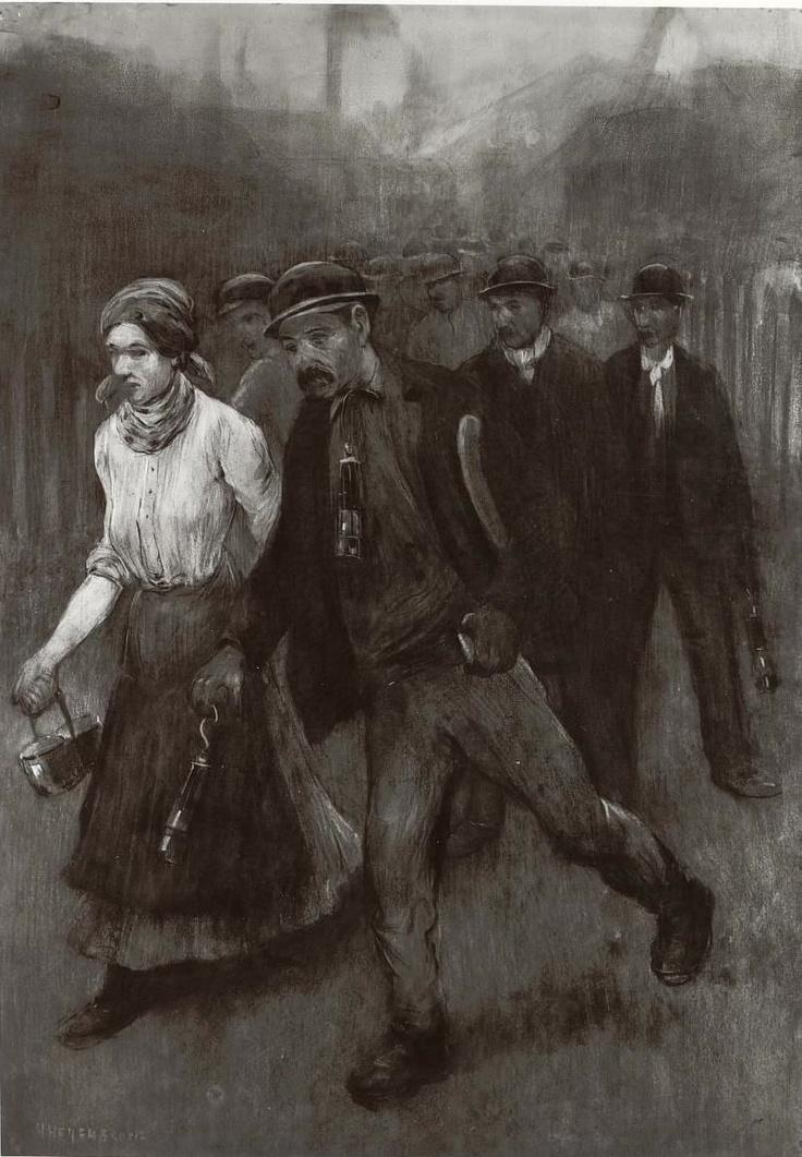 Mijnwerkers met vrouw   Heijenbrock