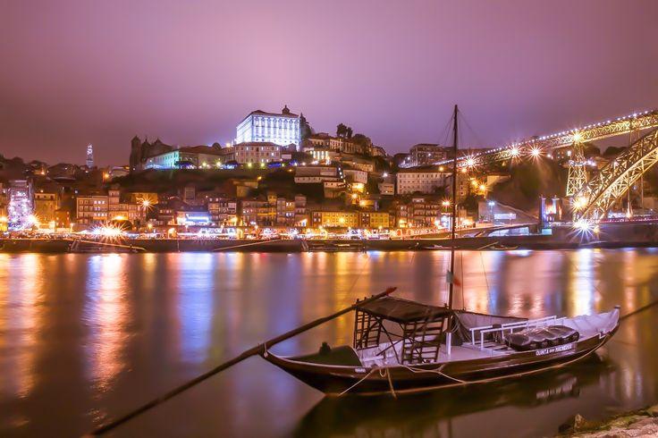 Porto, Portugal - Night view on the Douro river in Porto, Portugal.