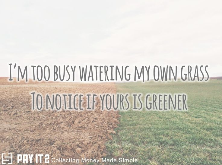 Too busy watering my own grass to notice if yours is greener. http://www.payit2.com/