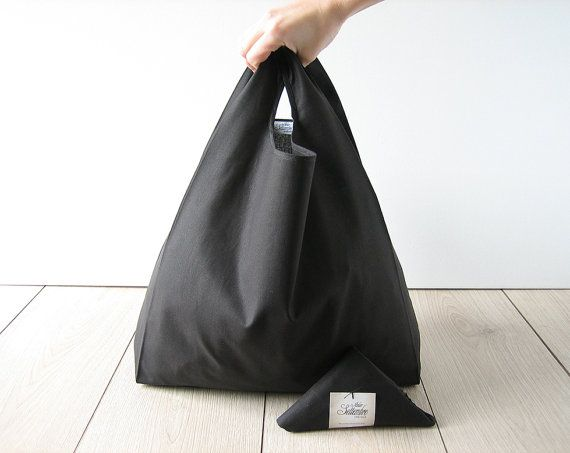 black shopping bag / minimal man tote bag / by AtelierSettembre