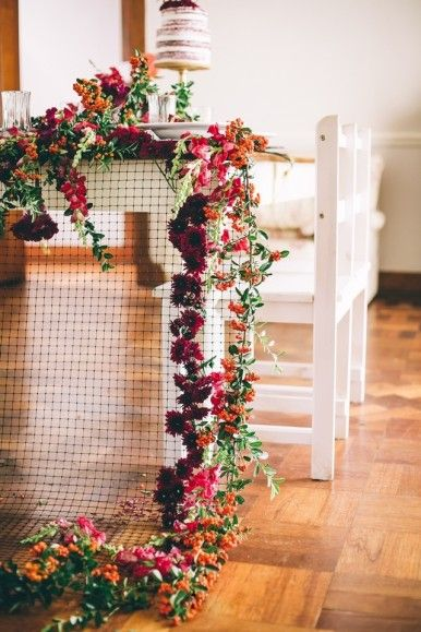 Unique table runner | Carike Ridout Photography | see more on: http://burnettsboards.com/2015/06/vintage-marsala-wedding/