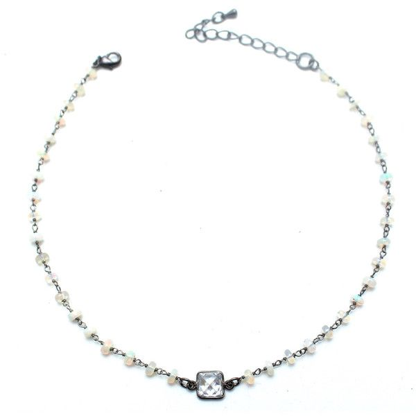 Athena Rosary Choker ($88) ❤ liked on Polyvore featuring jewelry, necklaces, ethiopian opal, choker necklace, rhinestone choker necklace, long choker necklace, long necklaces and rhinestone necklace