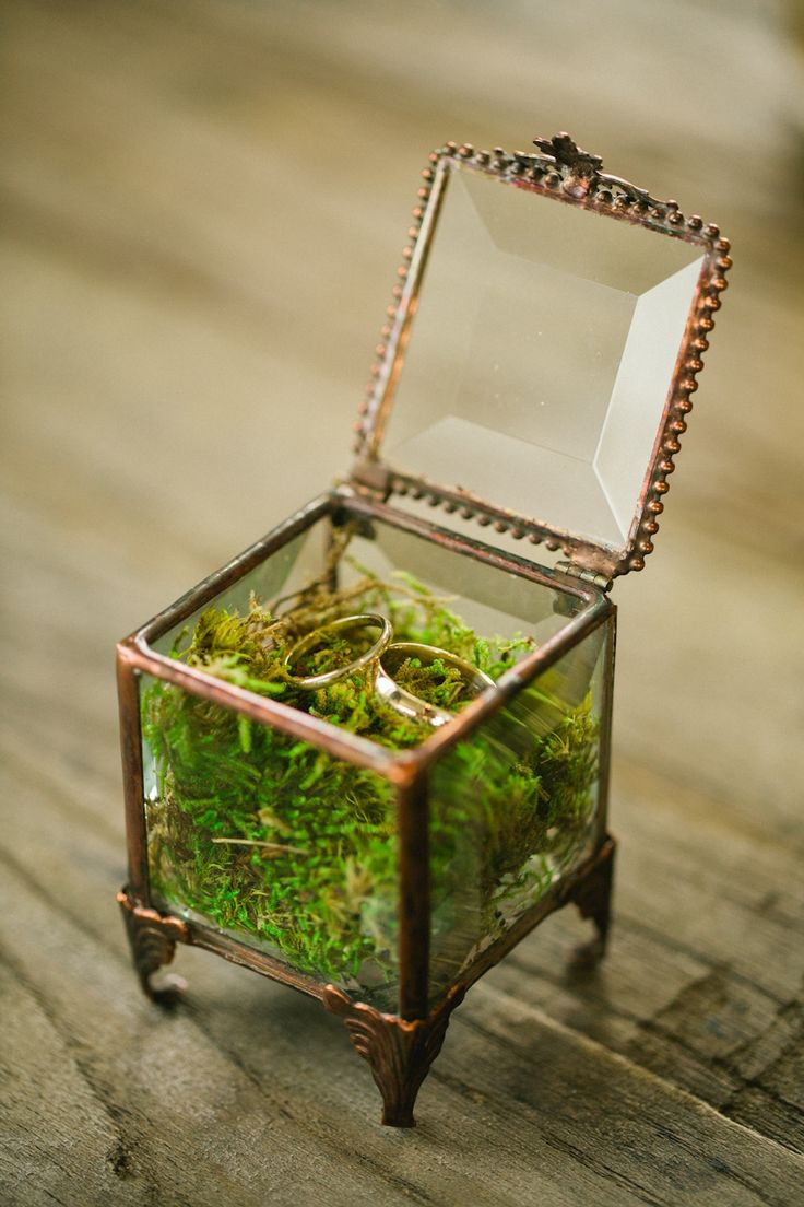 Vintage box filled with moss to hold rings. Wedding Planner: LK Events | Florist: Stems. Photography: Evan Hunt Photography - www.evanhuntphoto.com/ Read More: http://www.stylemepretty.com/2014/07/15/elegant-chicago-wedding-at-cafe-brauer/