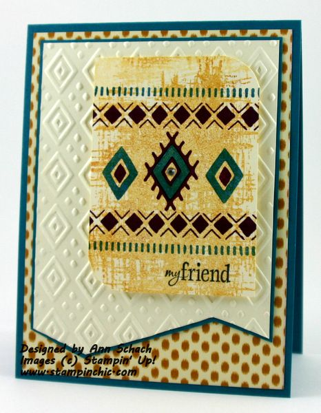 Stampin' Up! ... hand crafted card for Pals Paper Arts sketch ... bohemian borders ... luv how the stamp and embossing folder echo with diamond shape ...