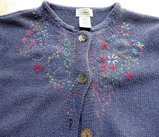 Love how Jane LaFazio chose to hand-embroider her OWN cardigan, after inspiration by a pricier version in a shop...Cardigans, Embroidery Needlework, Crosses Stitches Embroidery, Stitches Sweaters, Embroidered Stitches, Embroidery Jane, Embroidered Sweaters, Beautiful Embroidery, Crosstitch Embroidery