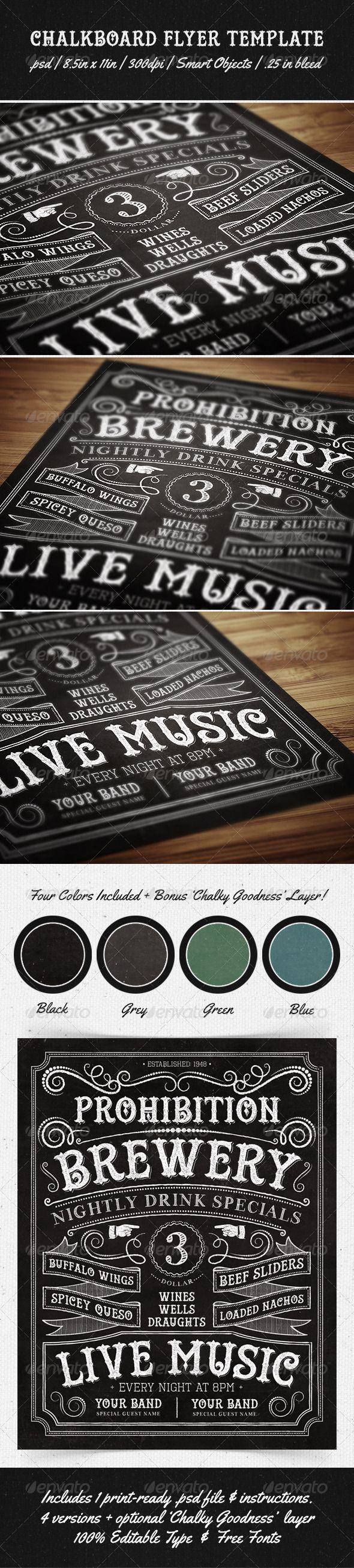 Chalkboard Flyer PSD Print Template | Download: http://graphicriver.net/item/chalkboard-flyer-template/5405878?WT.ac=category_thumbWT.z_author=MakeMediaCoref=ksioks