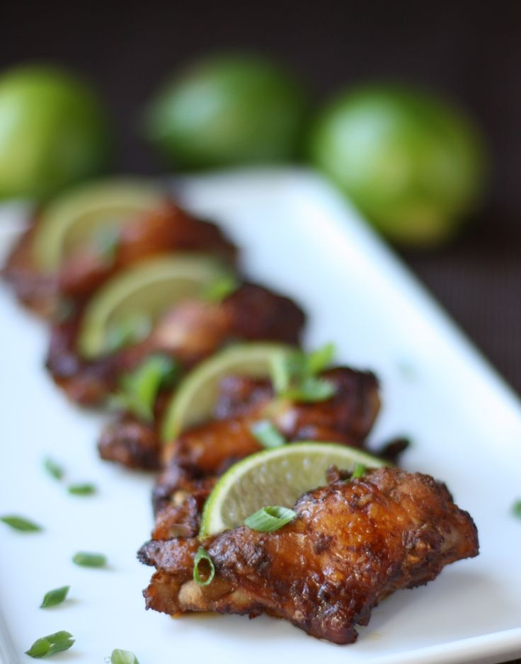 football food: asian chicken wings with lime, ginger, and soy sauce