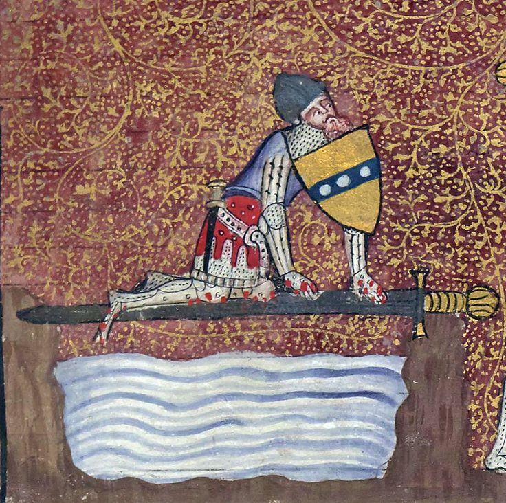 Sir Lancelot crossing the Sword Bridge Lancelot du Lac, Hainaut 1344 BnF, Français 122, fol. 1r