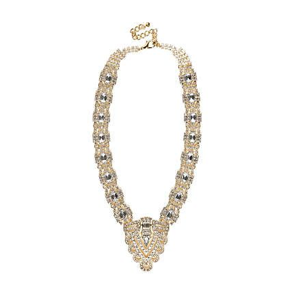 Gold tone diamante deco statement necklace £22.00