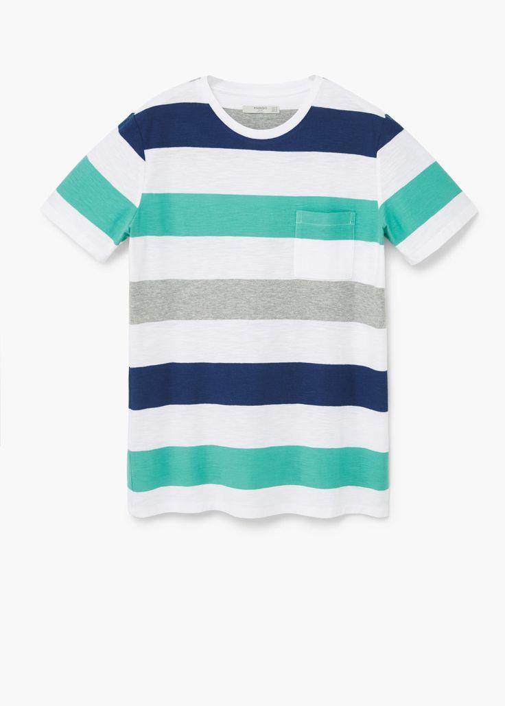 Chest-pocket striped t-shirt | MANGO MAN