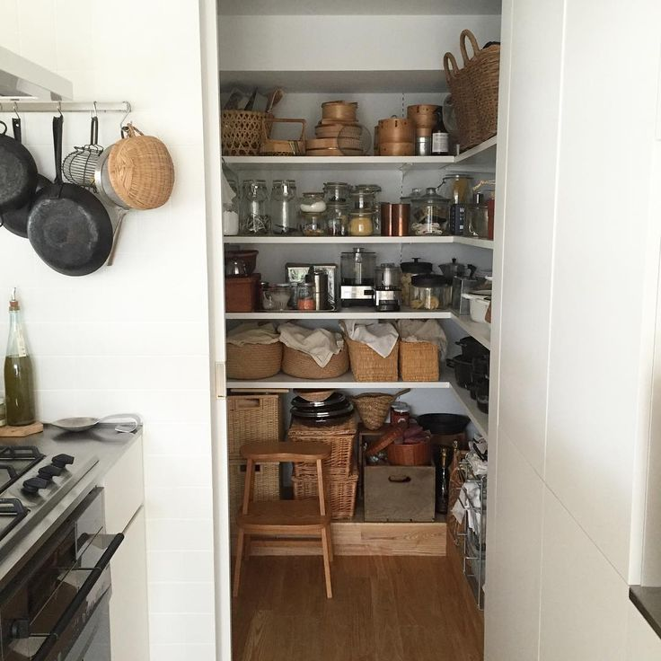 pantry with jars and baskets