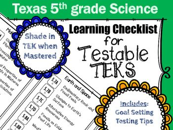 Science Testable Teks Foladable For Tracking Mastery And Setting