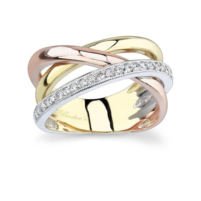 Best Tri Color Diamond Band LTW Modern contemporary styling gives this ring an air of