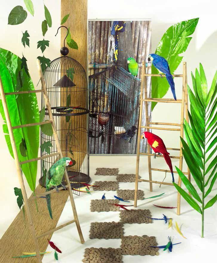 Atmosfera tropicale: foglie bamboo, palma,  banano, pappagalli giganti (Tropical trend)