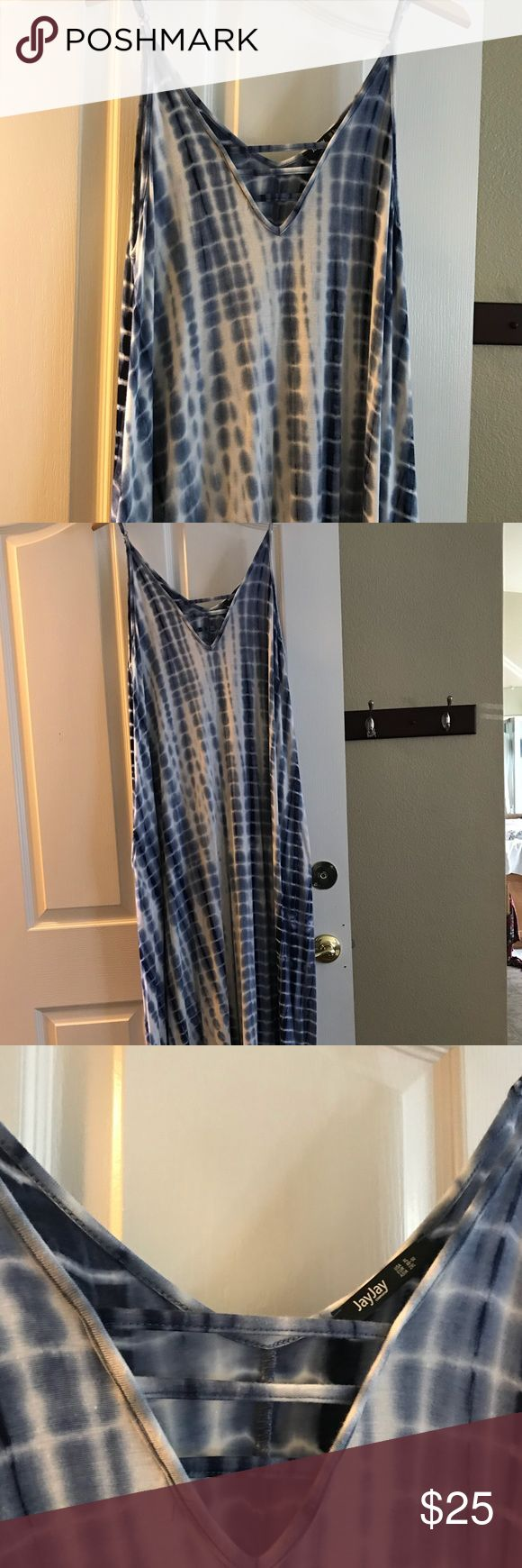 JayJay blue and white Maxi Dress Very pretty white/blue tank maxi dress. This dress is oversized and stretchy, very comfortable. Never worn. Dresses Maxi