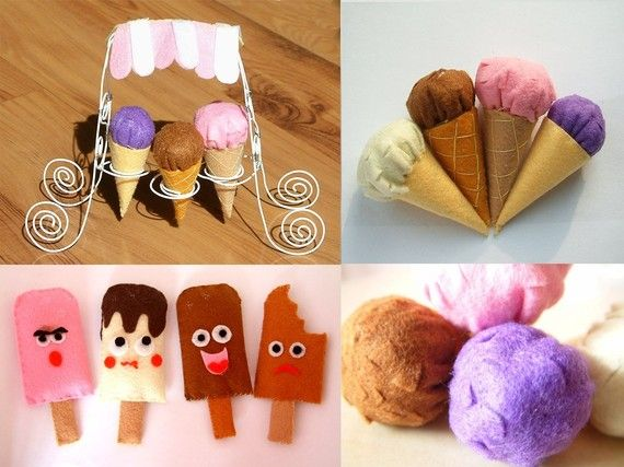 DIY Felt Ice Cream -- PDF Pattern and instructions.    The item consists of :  --Ice cream(Scoop)  --Popsicle  --Ice-Cream Cones  --ice-cream truck (ice cream cone holder)    ice cream truck is made from iron wire.    http://www.etsy.com/listing/57866987/diy-felt-ice-cream-pdf-pattern-and