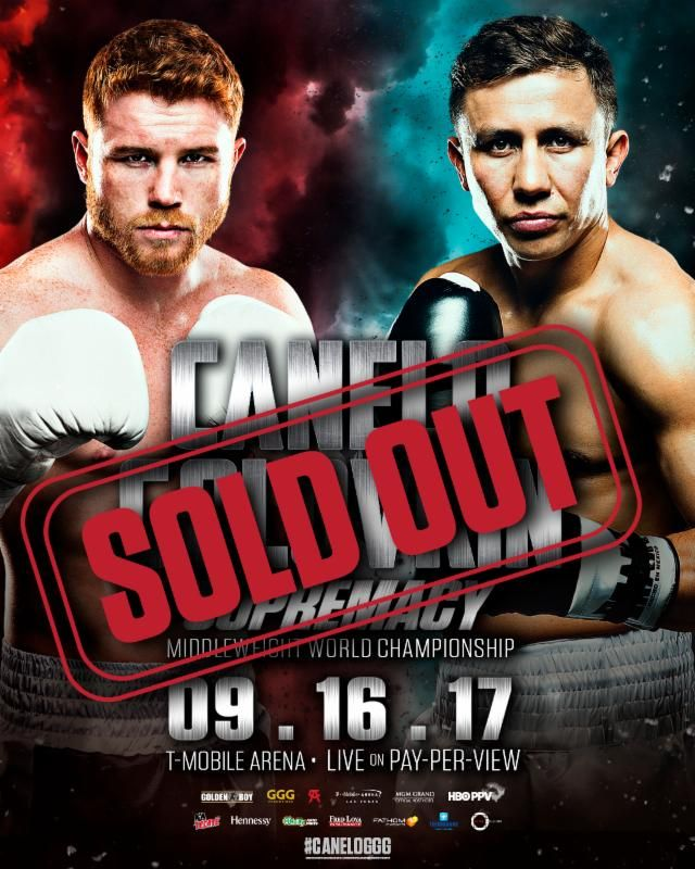 "http://realcombatmedia.com/2017/07/canelo-vs-golovkin-tickets-sold/Follow CANELO VS. GOLOVKIN TICKETS SOLD OUT!!!!   BIGGEST FIGHT IN BOXING BETWEEN CANELO ALVAREZ AND GENNADY ""GGG"" GOLOVKIN SELLS OUT LAS VEGAS' T-MOBILE ARENA   CLOSED CIRCUIT VENUES TO BE ANNOUNCED SOON SEPTEMBER 16 FIGHT, 'SUPREMACY' IS PRESENTED LIVE BY HBO PAY-PER-VIEW®       Canelo vs. Golovkin tickets sold out! LOS ANGELES (July 7, …"