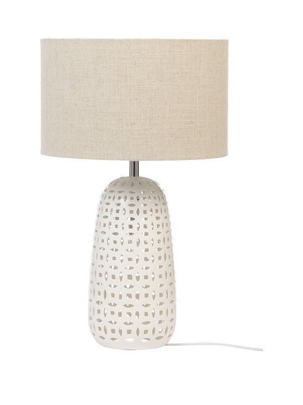 Duo Table Lamp – 50 cm Taking the traditional lamp design and adding a second bulb into the base for a stunning talking point, the Duo Table Lamp uses twice the light to create an eye-catching feature in your home. With a fabric shade diffusing the light to a gentle glow, it's left to the light inside the gloss stoneware base to give a stark contrast and fill the room with a beautifully patterned radiance.Energy Rating: A++ to E depending on what bulb is used with the lightDepth: 30…