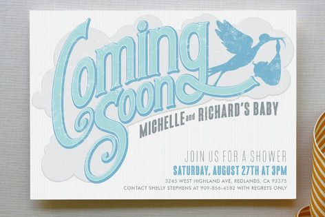 Coming Soon Baby Shower Invitations by GeekInk Design at minted.com
