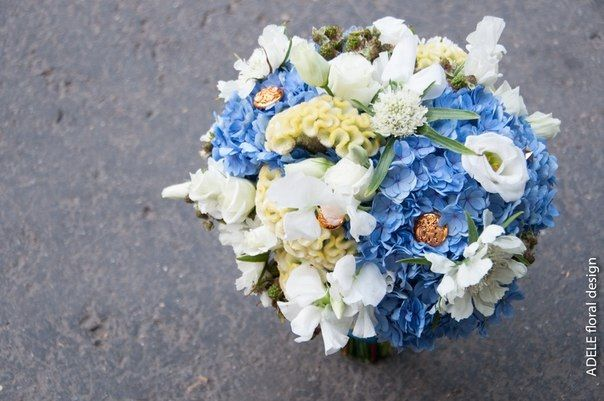 My work, bouquet with hydrangea, lathyrus and cellosia! Blue and green
