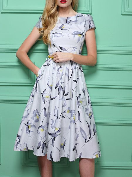 Shop Midi Dresses - Printed Cotton Midi Dress with Belt online. Discover unique designers fashion at StyleWe.com.