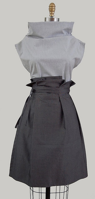 columnar tunic & wrapped skirt