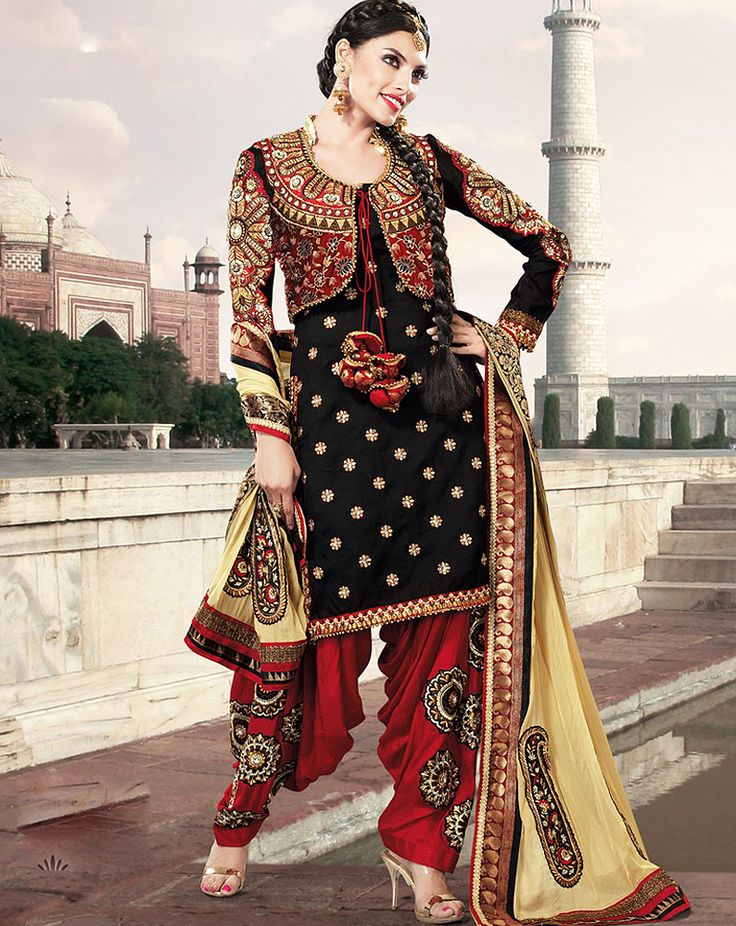 OccasionParty Wear,Reception Wear,Designer Wear CollectionPunjabi Suit ColorBlack,Red FabricFaux Georgette WorkEmbroidered,Lace Work,Border work SeasonAny Weight1 K.G