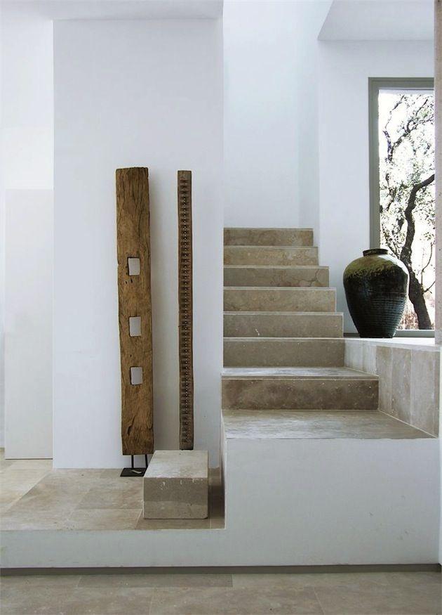simple stone floor, greys & whites. mediterranean interior