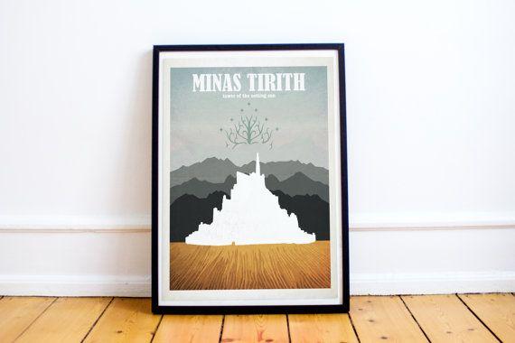 Minas Tirith - Señor de lo anillos - El Hobbit - impresión del arte de estilo de viaje cartel - Señor del cartel anillos - Retro - arte de la pared - decoración para el hogar